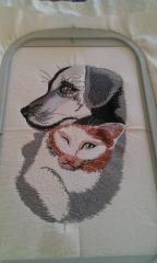 Cushion with Dog free embroidery design