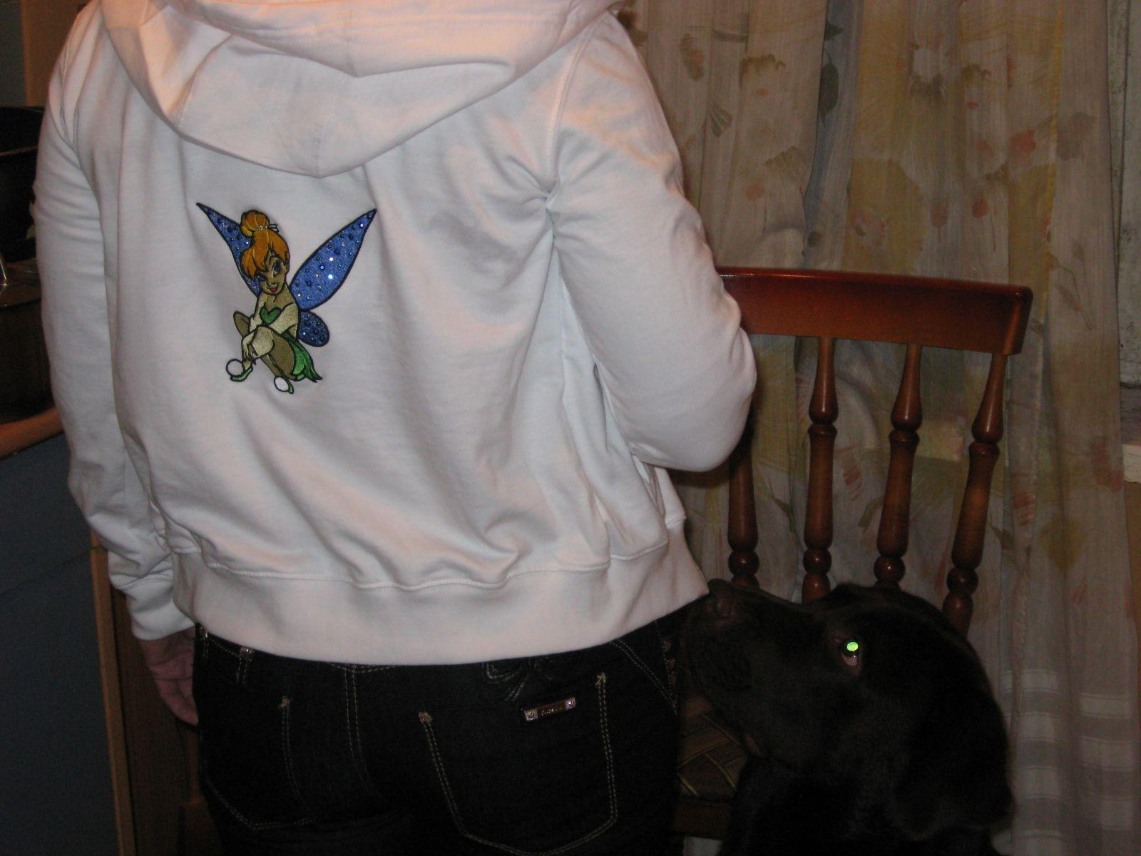 Jacket with Tinkerbell embroidery design