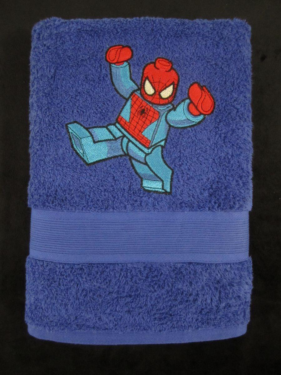 Embroidered towel with Lego spiderman design