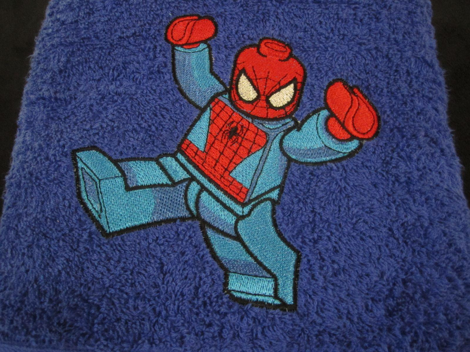 Towel with Spiderman Lego embroidery design
