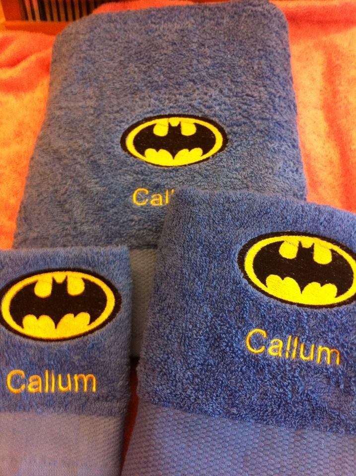 Embroidered towel with Batman logo design