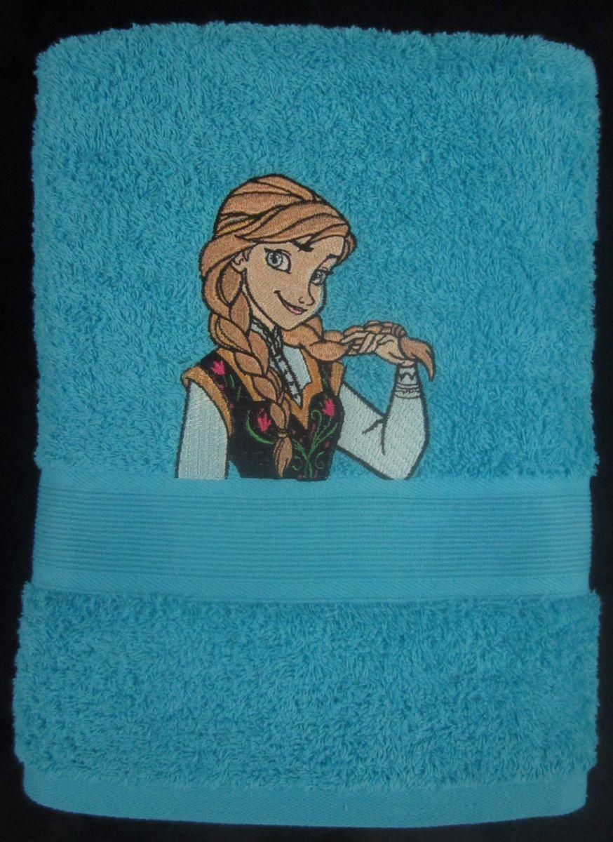 Anna embroidered design at towel