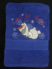 Embroidered towel witg Olaf embroidery design