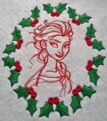 Elsa sketch sketch embroidery design 5