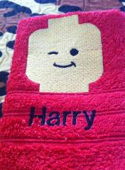 Lego embroidered towel