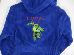 Embroidered bathrobe with Raphael design