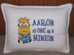 Embroidered pillow with Minion design