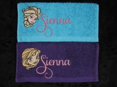 Towel with Frozen embroidery designs