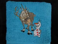 Sven and Olaf embroidered at towel