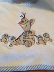 Olaf and family embroidery design at  towel