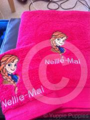Anna from Frozen embroidered at towel