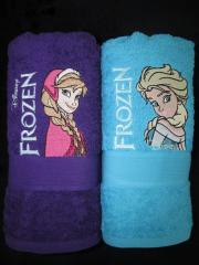 Anna and Elsa embroidered towels