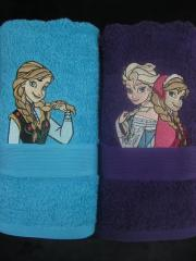 Two towels with Frozen embroidery designs