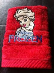 Elsa embroidered design at towel