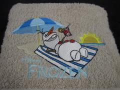 Olaf embroidered design at bath towel