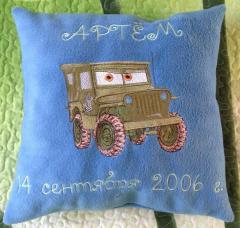 Embroidered pillow with Sarge design