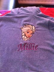 Shirt with Elsa embroidery design