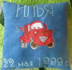 Mater car design embroidered at pillow