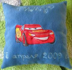 Embroidered pillow with Lightning McQueen design