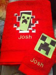Minecraft embroidered towel