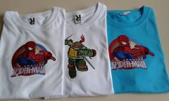 T shirts with Spiderman and Teenage Turtle Ninja embroidery designs