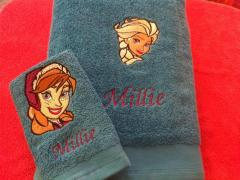 Frozen sisters embroidered towel