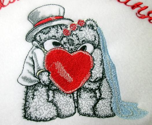 Teddy Bear wedding embroidered gift