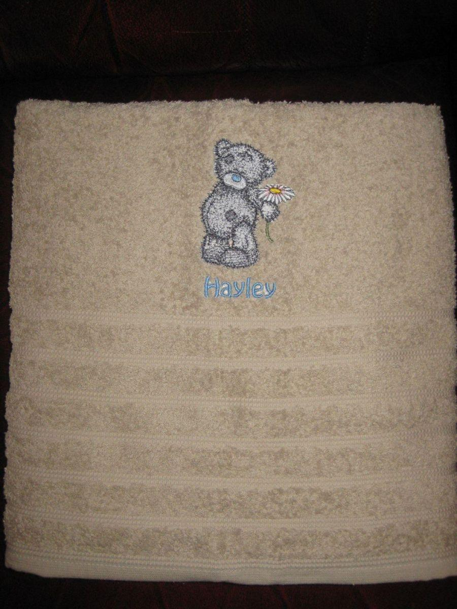 My loving  Teddy Bear embroidery design on towel