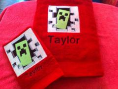 Embroidered towels with Minecraft Creeper original design
