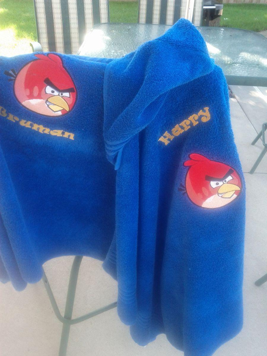 Angry birds embroidered towel