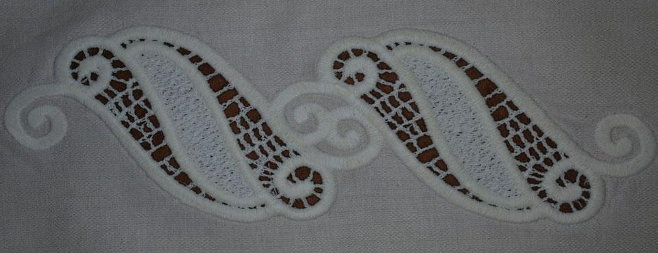 Embroidered Fsl openwork design