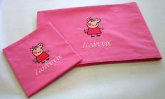 Embroidered sheets with Peppa pig design