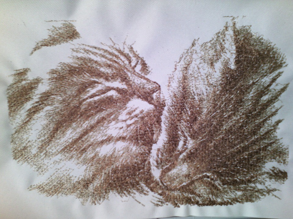 Two loving cats free machine embroidery design
