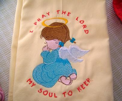 Embroidered pillowcase with Little angel design