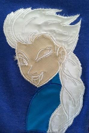 Elsa applique embroidery design
