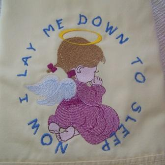 Embroidered pillowcase with Little cute angel design