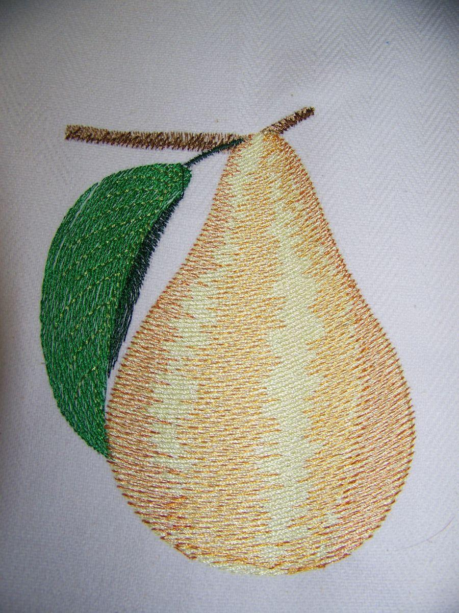 Pear embroidery design
