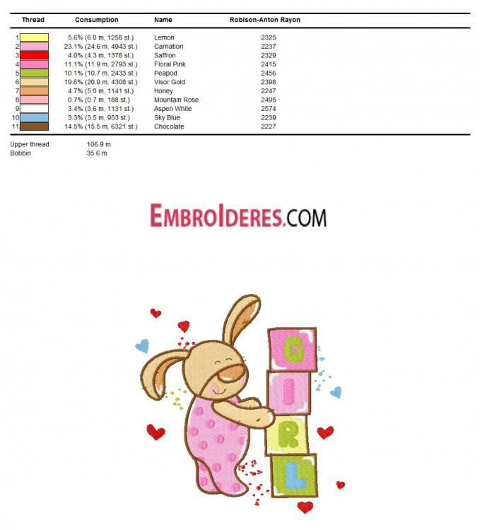 Color chart for bunny embroidery design