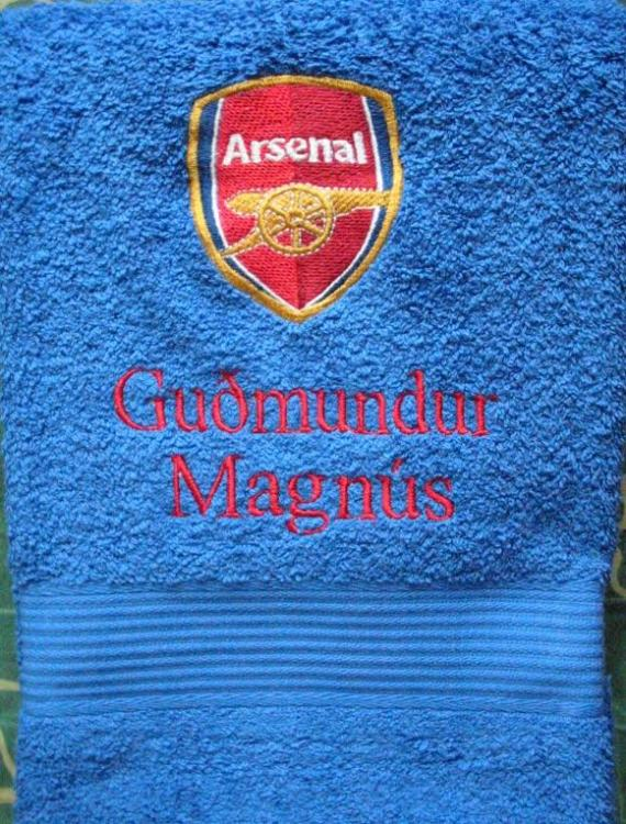 Bath towel with Arsenal logo embroidery design