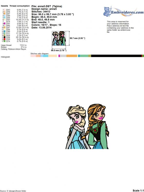 Color Chart for Frozen sisters embroidery design