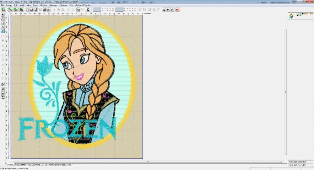 Embird software screen with Anna embroidery design