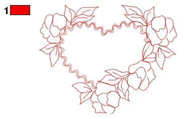Redwork heart with roses free embroidery design