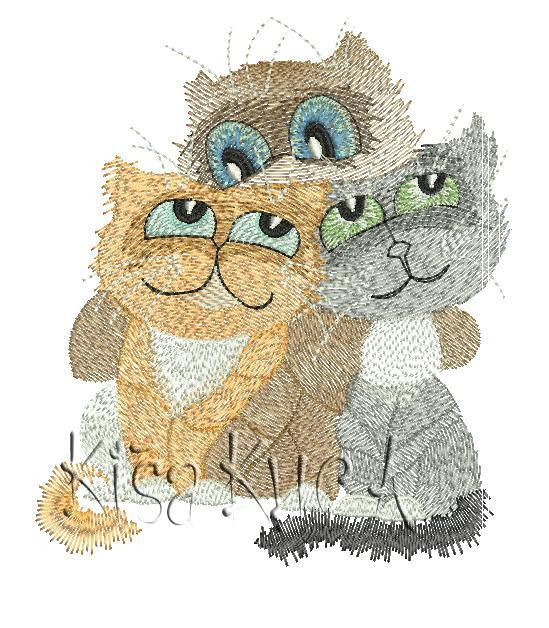 Three cats friends free machine embroidery design