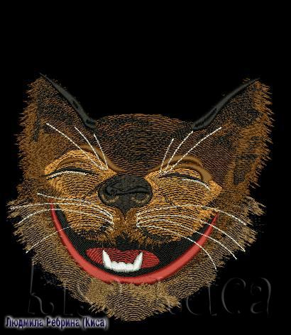Cheshire cat with big smile free machine embroidery design