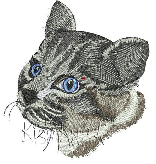 Grey cat free machine embroidery design