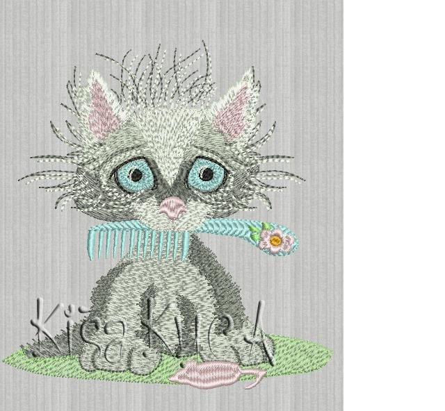 Small cute kitty hairdresser free embroidery design