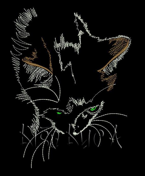 Kitten in the night free embroidery design