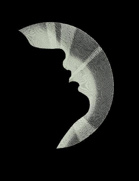 Moon and face free machine embroidery design