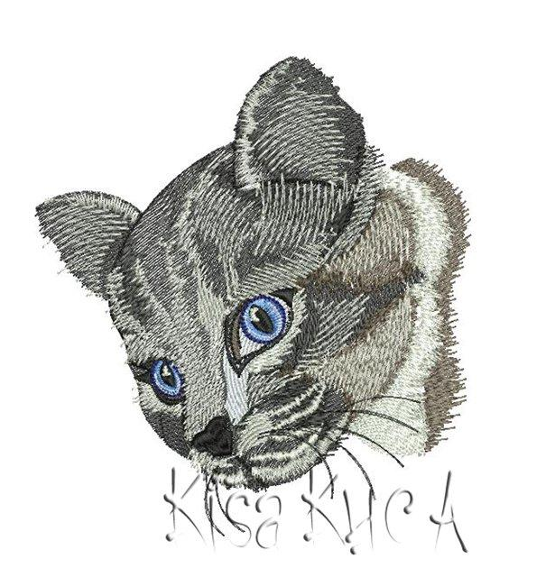 Crey cat head free machine embroidery design
