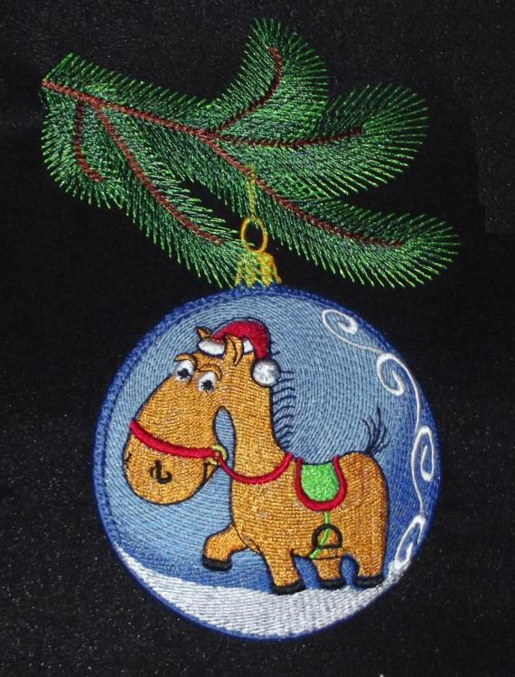 Christmas ball horse free embroidery design